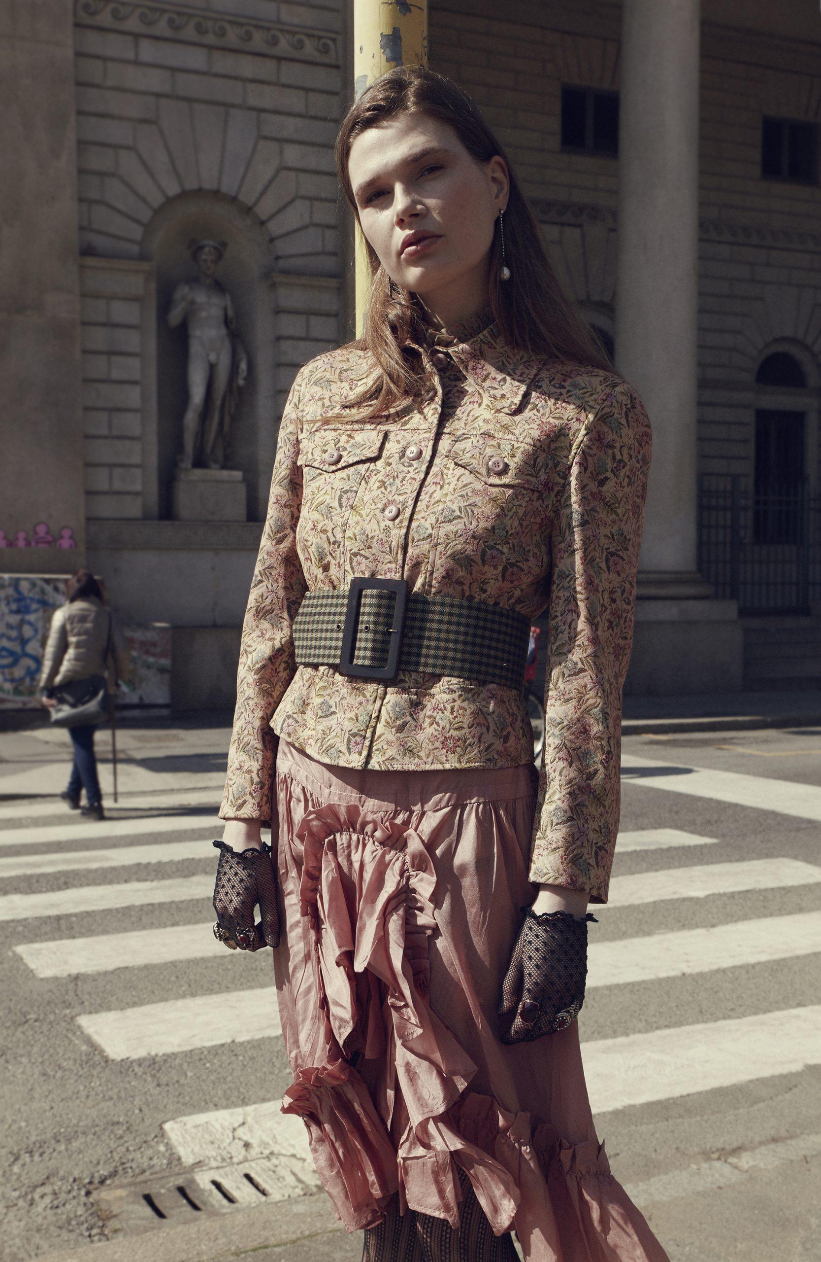 editoriale moda The Now Retrophilia, styling, mirko pedone, gonna krizia, camicia pinko,