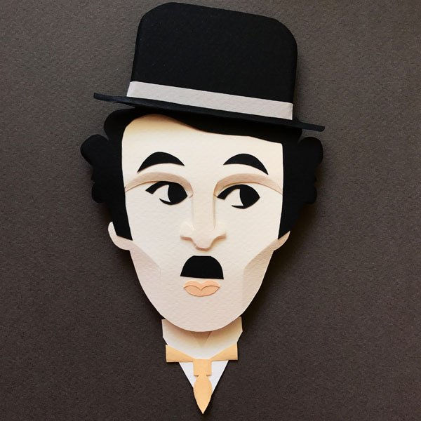 Chaplin art illustration 3D paper