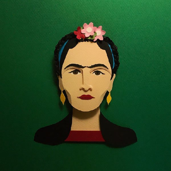 frida, paper illustration, illustrazioni, carta, 3D