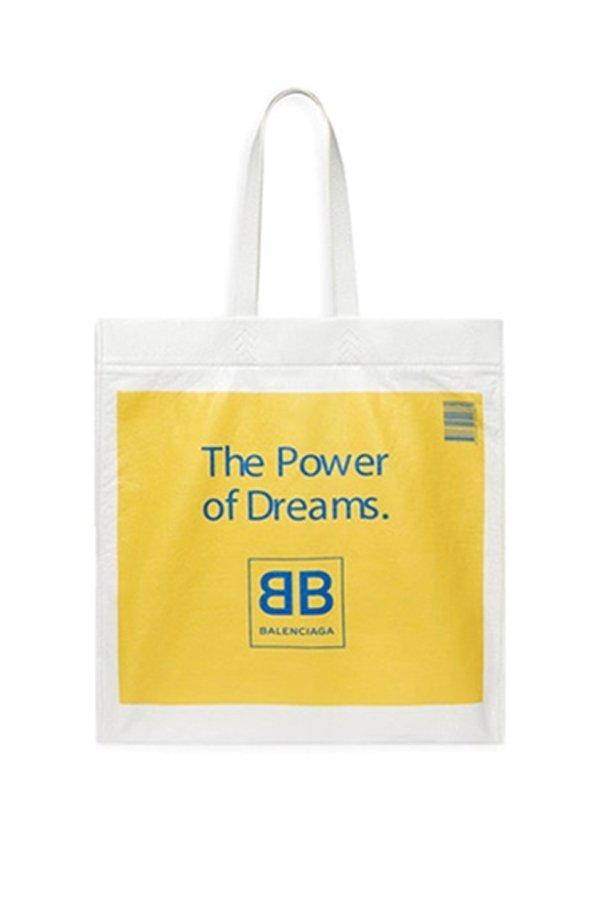 Balenciaga shopper borsa plastica in pelle gialla