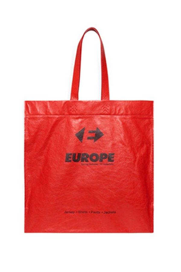 Balenciaga shopper borsa plastica in pelle rossa