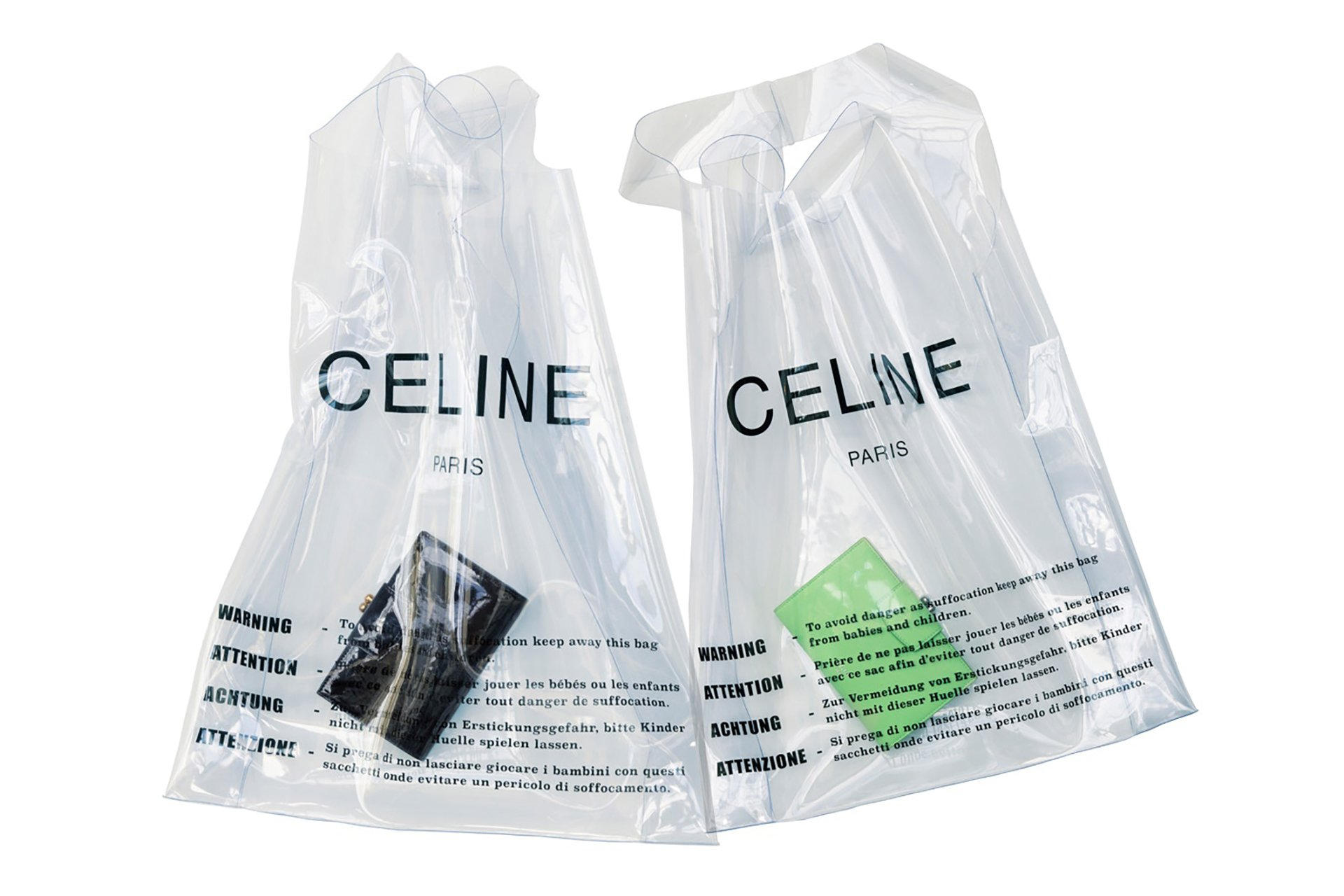 Céline sacchetto borsa plastica con stampa logo