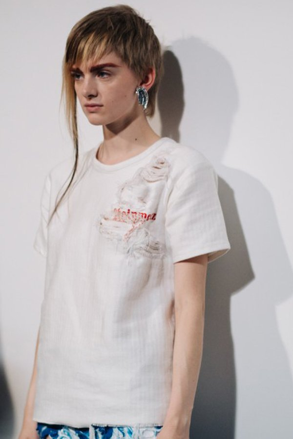 Faustine Steinmetz denim destrutturato SS 2018 backstage fashion show