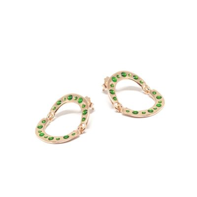 orecchini a cerchio trend 2017-2018 hoop earrings TURN AROUND EARRINGS ROSE GOLD AND GREEN ENAMELS Co.Ro