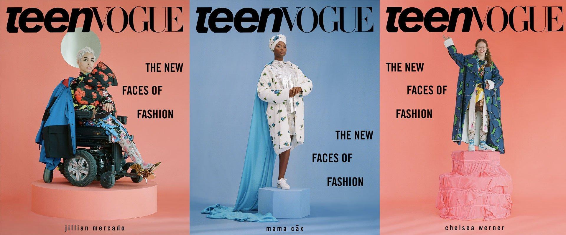 Teen-Vogue-Cover-Chelsea Werner (ginnasta), Jillian Mercado (influencer) e Mama Cax (blogger)