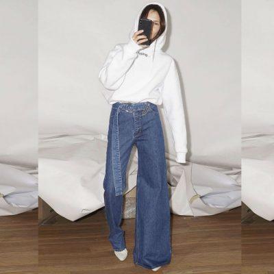 jeans asimmetrici, Ksenia schnaider, asymmetric jeans,