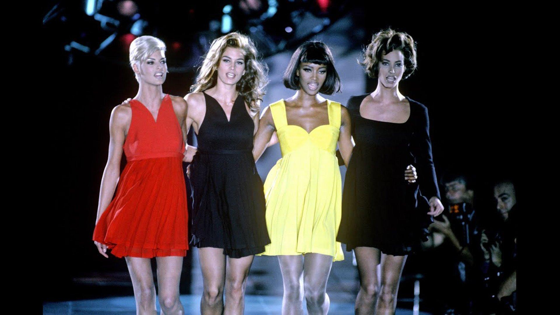 sfilata versace, freedom, autunno inverno 1991-1992, Campbell, Crawford, Turlington ed Evangelista