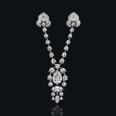 A Belle Epoque Diamond Devant-De-Corsage Brooch by Cartier