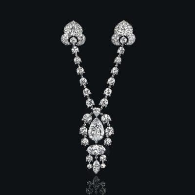 A Belle Epoque Diamond Devant-De-Corsage Brooch by Cartier
