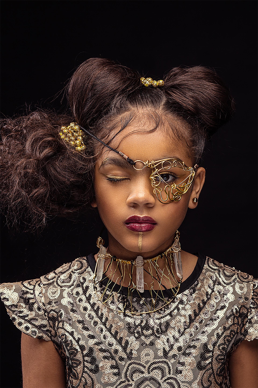 Afro Art, creative soul, steampunk, capelli ragazze di colore, monocolo