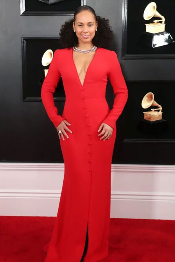 Alicia Keys, red dress
