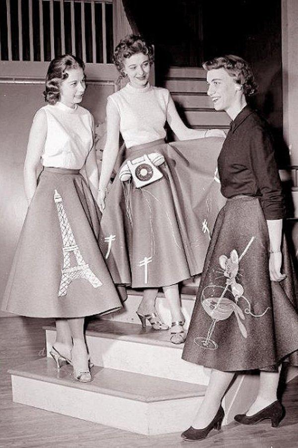 gonna a ruota, anni 50, trend, storia della moda